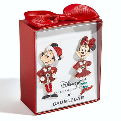 Santa Mickey and Minnie Mouse Holiday Earrings by BaubleBar