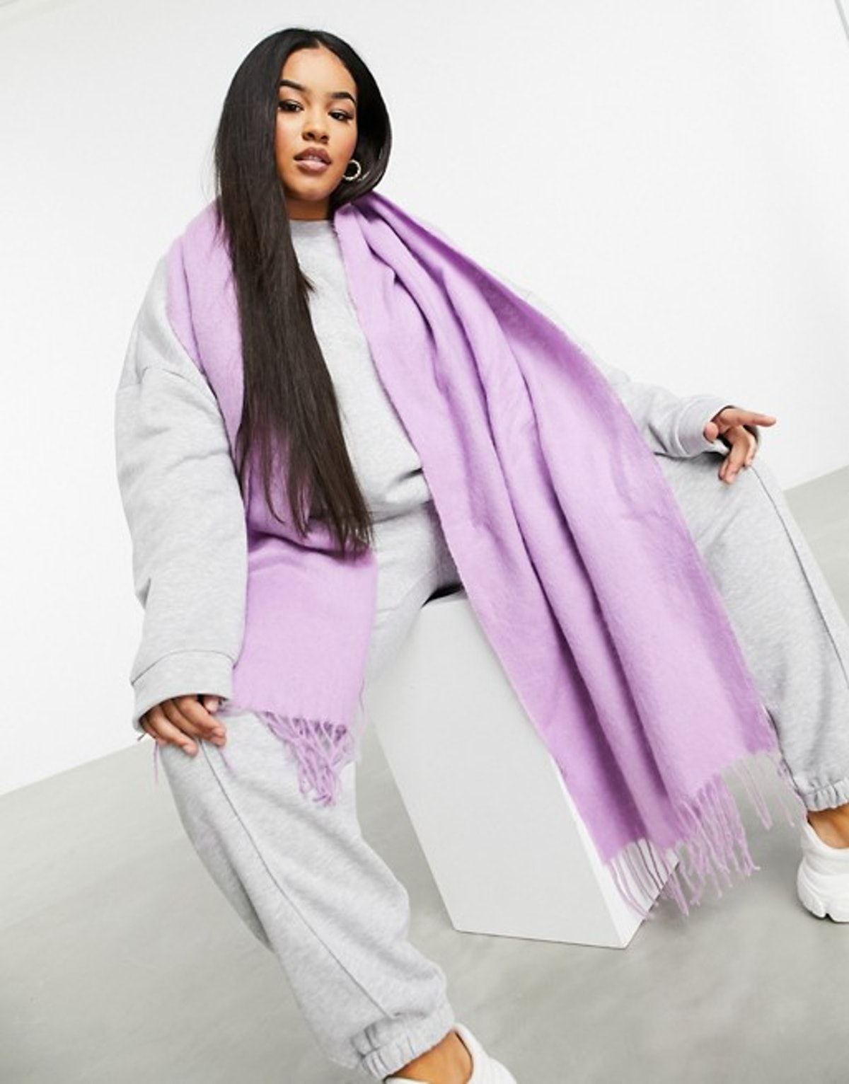 ASOS Design Supersoft Long Woven Scarf with Tassels in Lilac