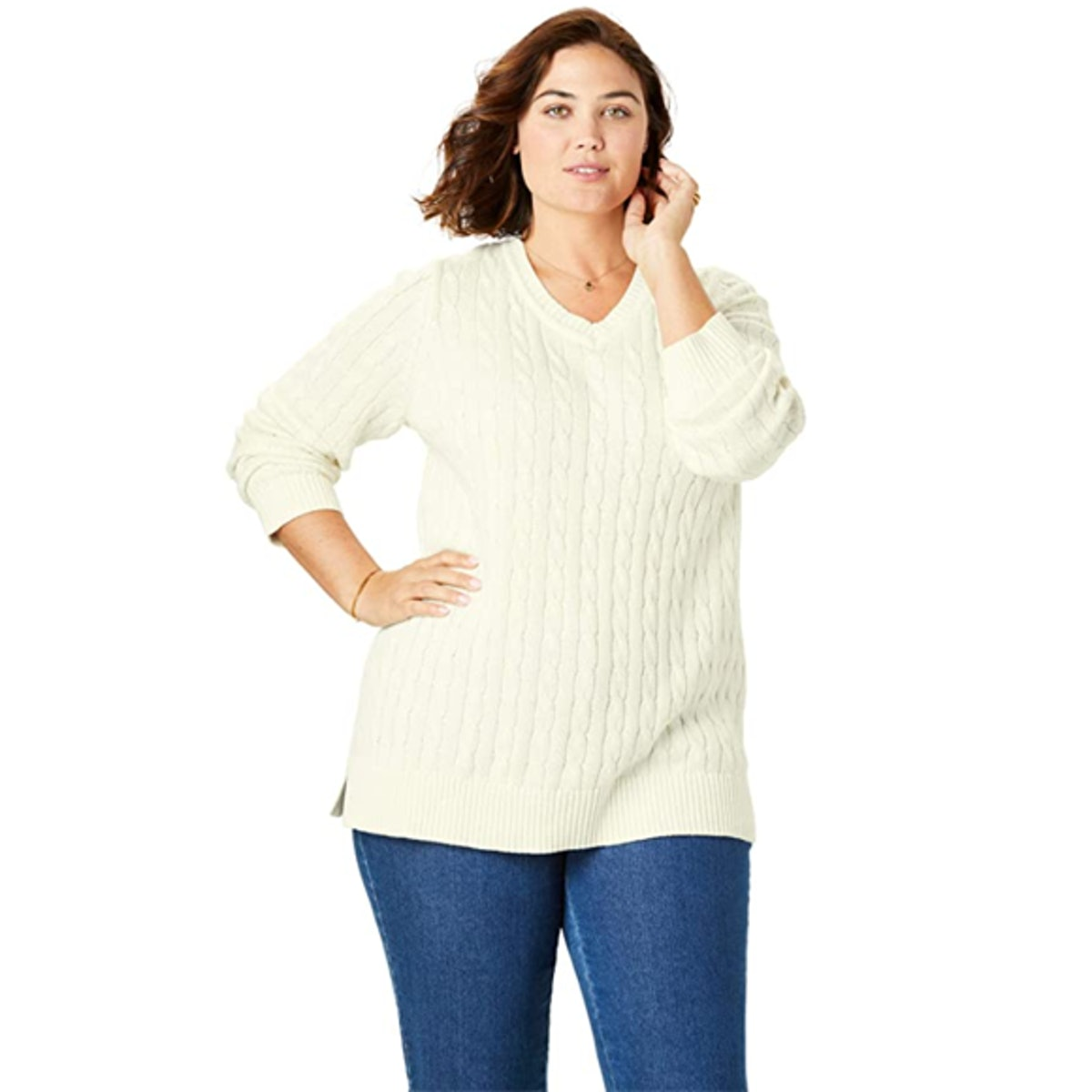 Woman Within Plus Size Cable Knit Sweater