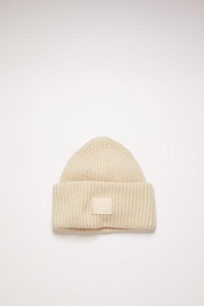 Rib Knit Beanie Hat Cream Beige