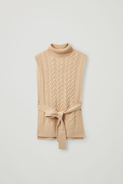 Cable Knit Roll-Neck Belted Vest