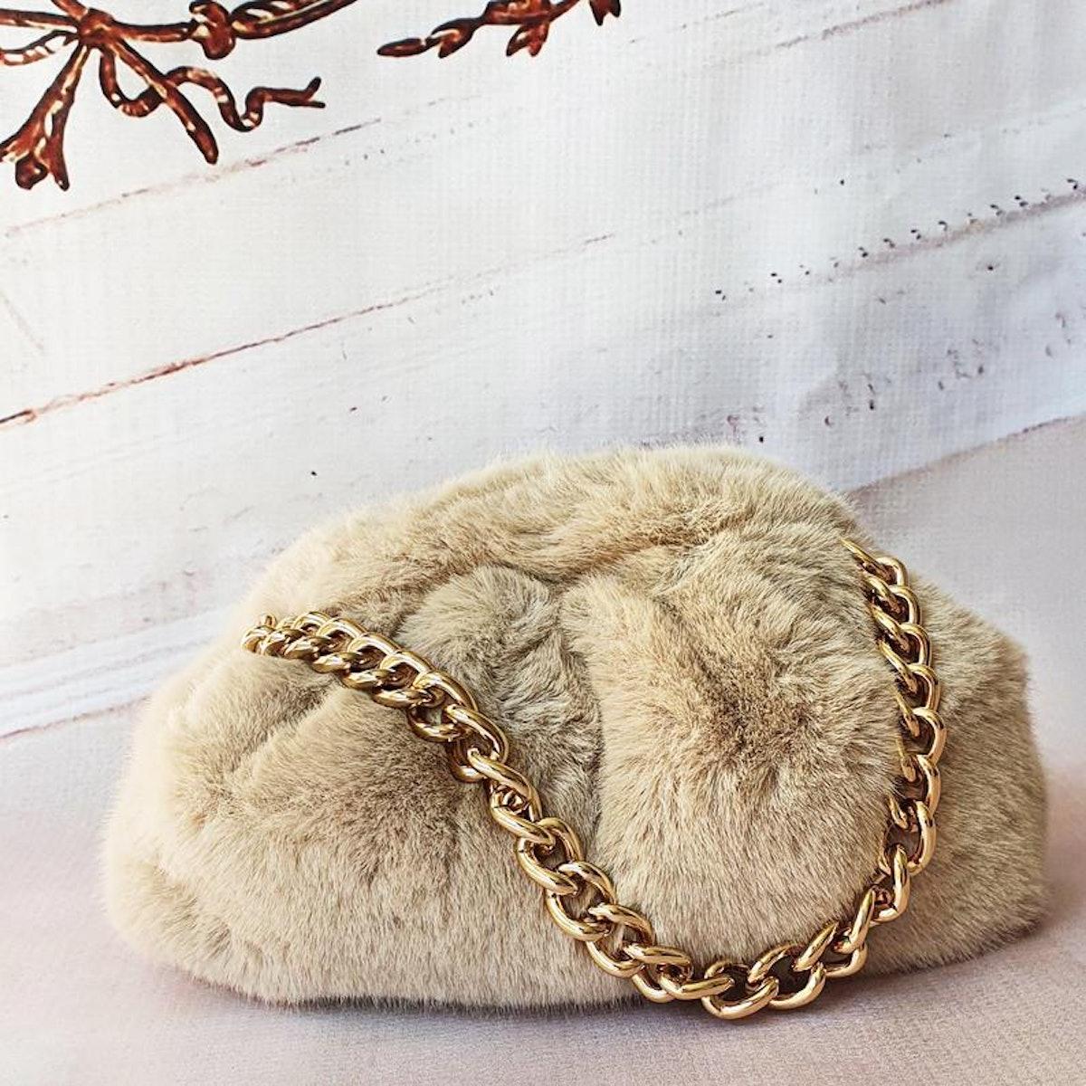 RiannaPhillips Cream Faux Fur & Chain Cloud Clutch Bag