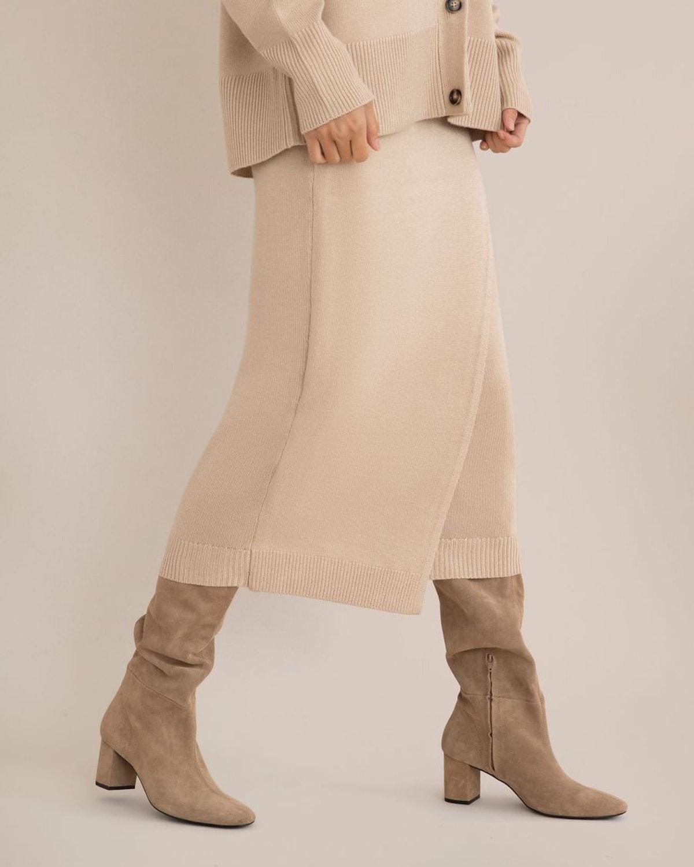 Annie Faux Wrap Midi Skirt