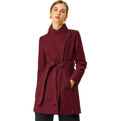 Allegra K Stand Collar Belted Winter Coat
