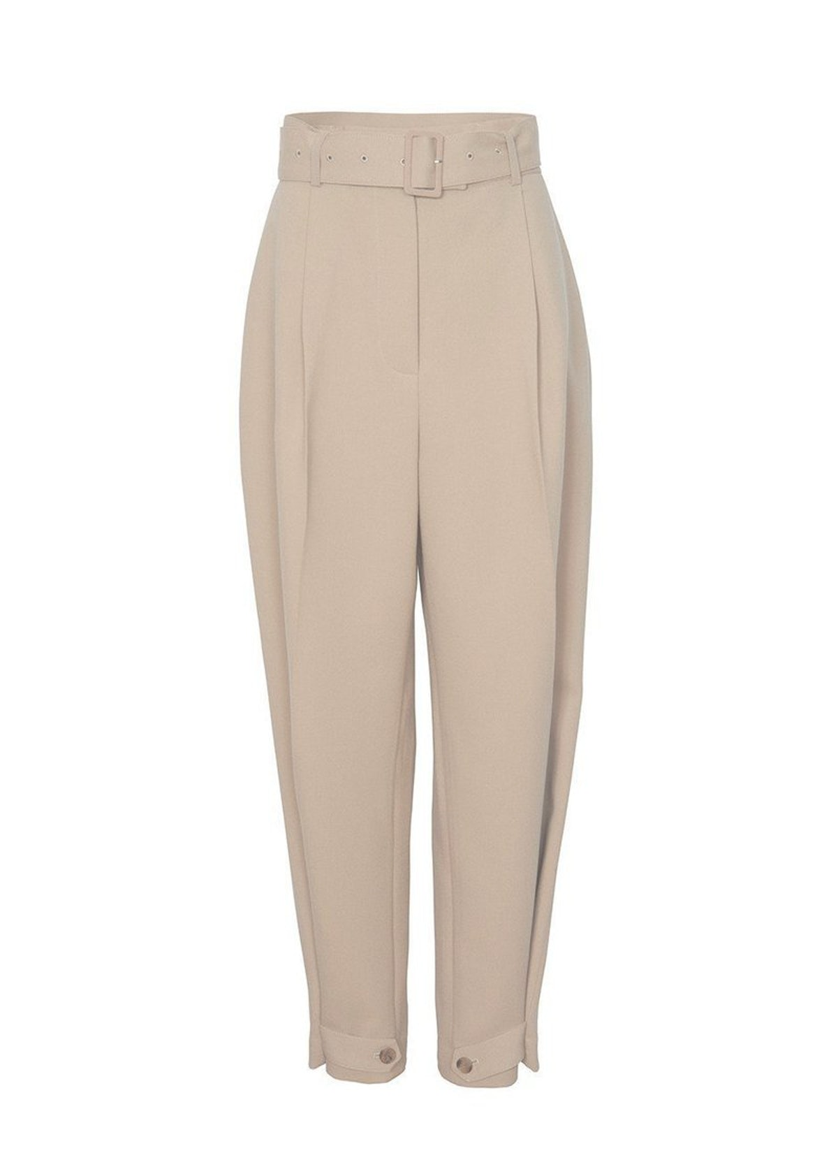 Belted Suit Pants With Button Tab Cuff