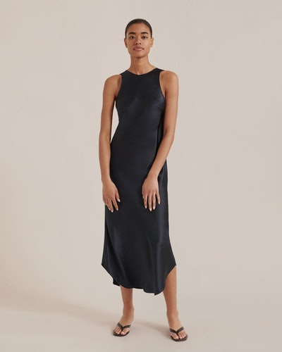 Eden High-Neck Satin Dress
