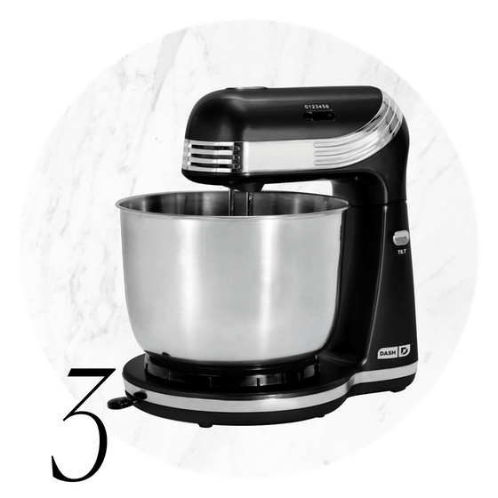 Dash Everyday 6-Speed Stand Mixer with 3-Quart Stainless Steel Mixing Bowl, Dough Hooks & Mixer Beaters