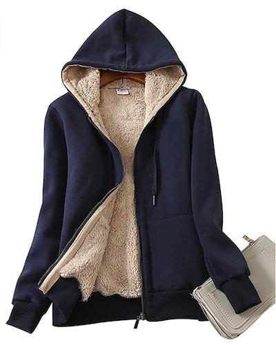 Yeokou Zip-Up Sherpa-Lined Hoodie Sweatshirt