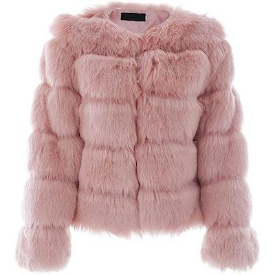 Simplee Women Fluffy Faux Fur Short Coat