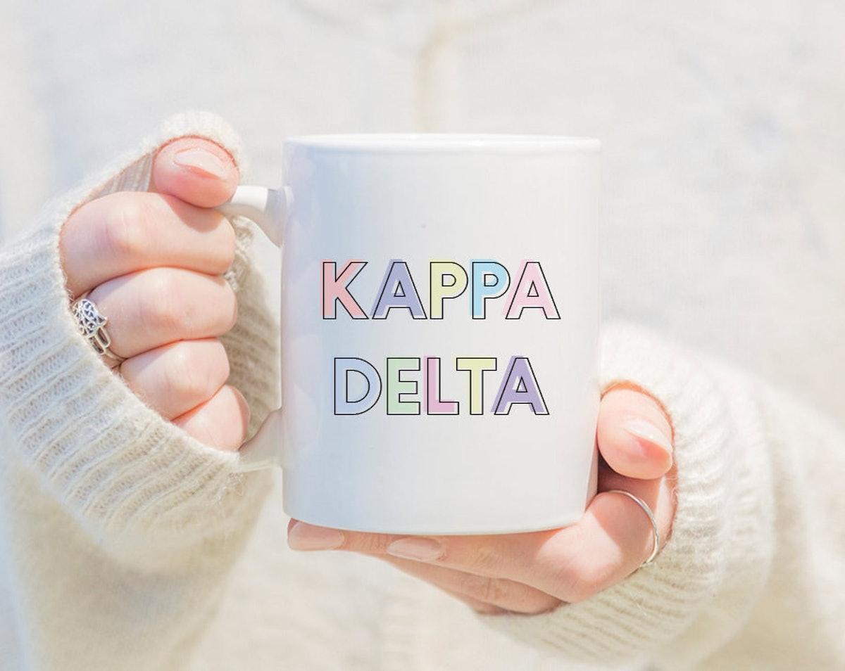 KD Kappa Delta Pastel Letters Outline Mug Sorority Coffee Mug