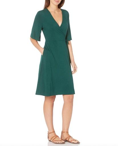 Amazon Essentials Women's Kimono Sleeve Faux Wrap Dress