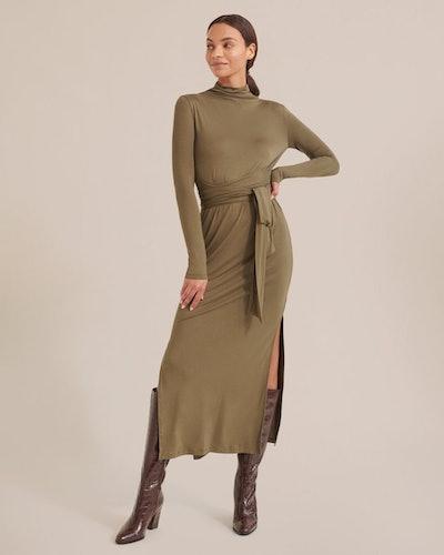 Troian Long-Sleeve Tie-Front Dress