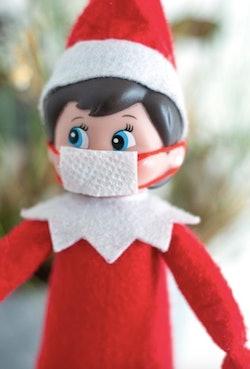 Elf on the shelf wearing face mask