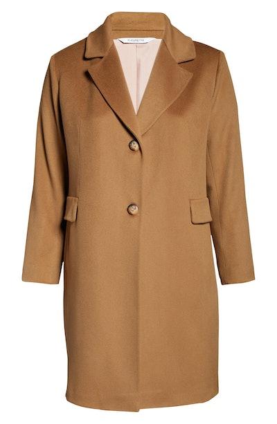 Fleurette Plus Size Notch Collar Walking Coat