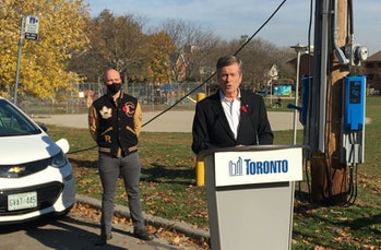 Toronto Mayor John Tory speaks at the launch of the EV charging pilot.