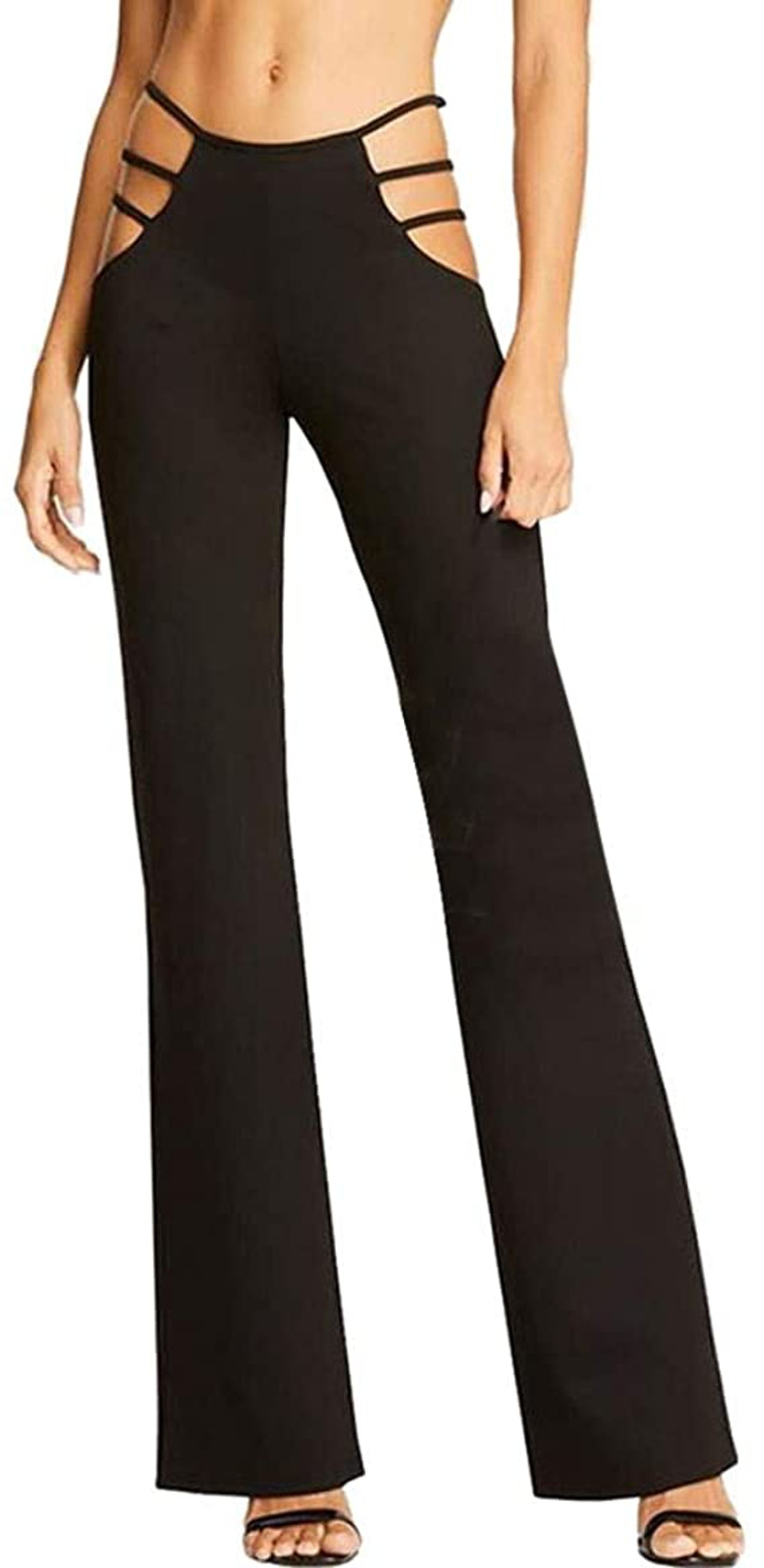 Anjunie Women High Elasticity High Waist Cutout Solid Strappy Casual Bell-Bottomed Pants