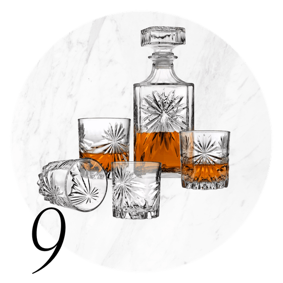 5-Piece Whiskey Decanter Set with Double Old Fashioned Glasses