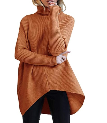 ANRABESS Asymmetric Turtleneck Sweater