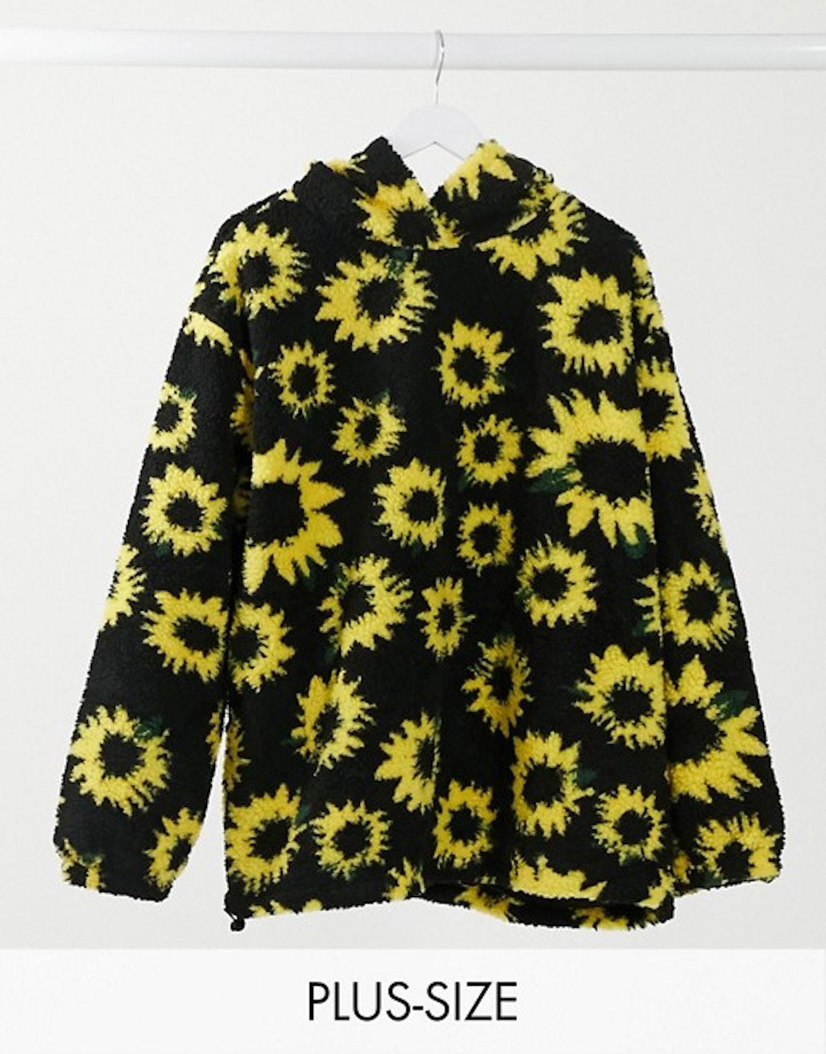 Daisy Street Plus Oversized Hoodie in Sunflower Print Teddy Fleece Co-ord