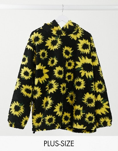 Daisy Street Plus Oversized Hoodie in Sunflower Print Teddy Fleece Co-ord