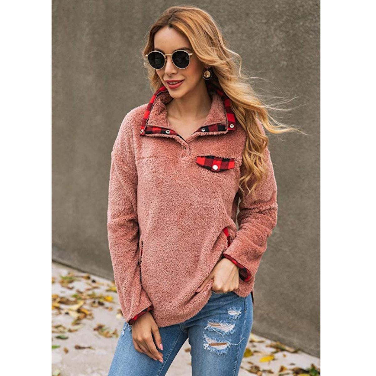 KIRUNDO Plaid Fleece Sweatshirt