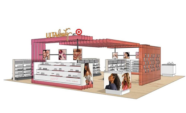 A rendering of an Ulta pop up that will be inside Target stores.