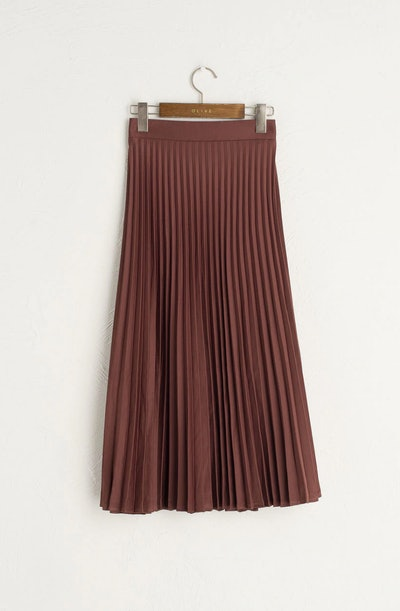 Satin Pleated Long Skirt