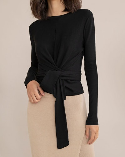 Harper Long-Sleeve Wrap Blouse