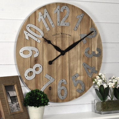 FirsTime & Co Slat Wood Wall Clock