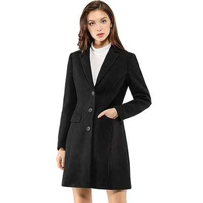 Allegra K Notched Lapel Single Breasted Coat