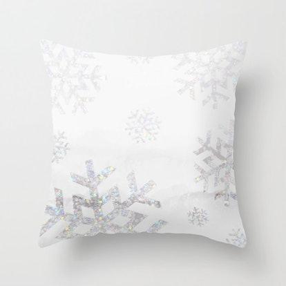 Snowflake Glitter Throw Pillow
