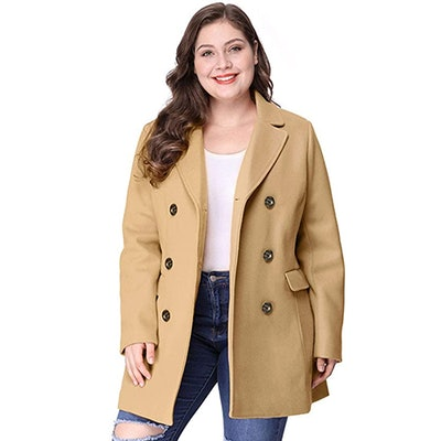 Agnes Orinda Plus Size Notched Lapel Double Breasted Coat