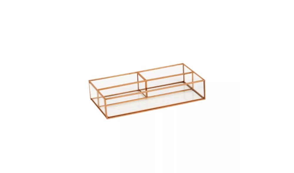 Threshold Vertical Glass & Metal Vanity Organizer