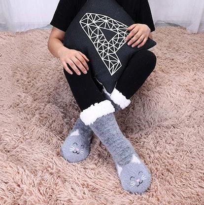 Jeasona Fuzzy Animal Slipper Socks