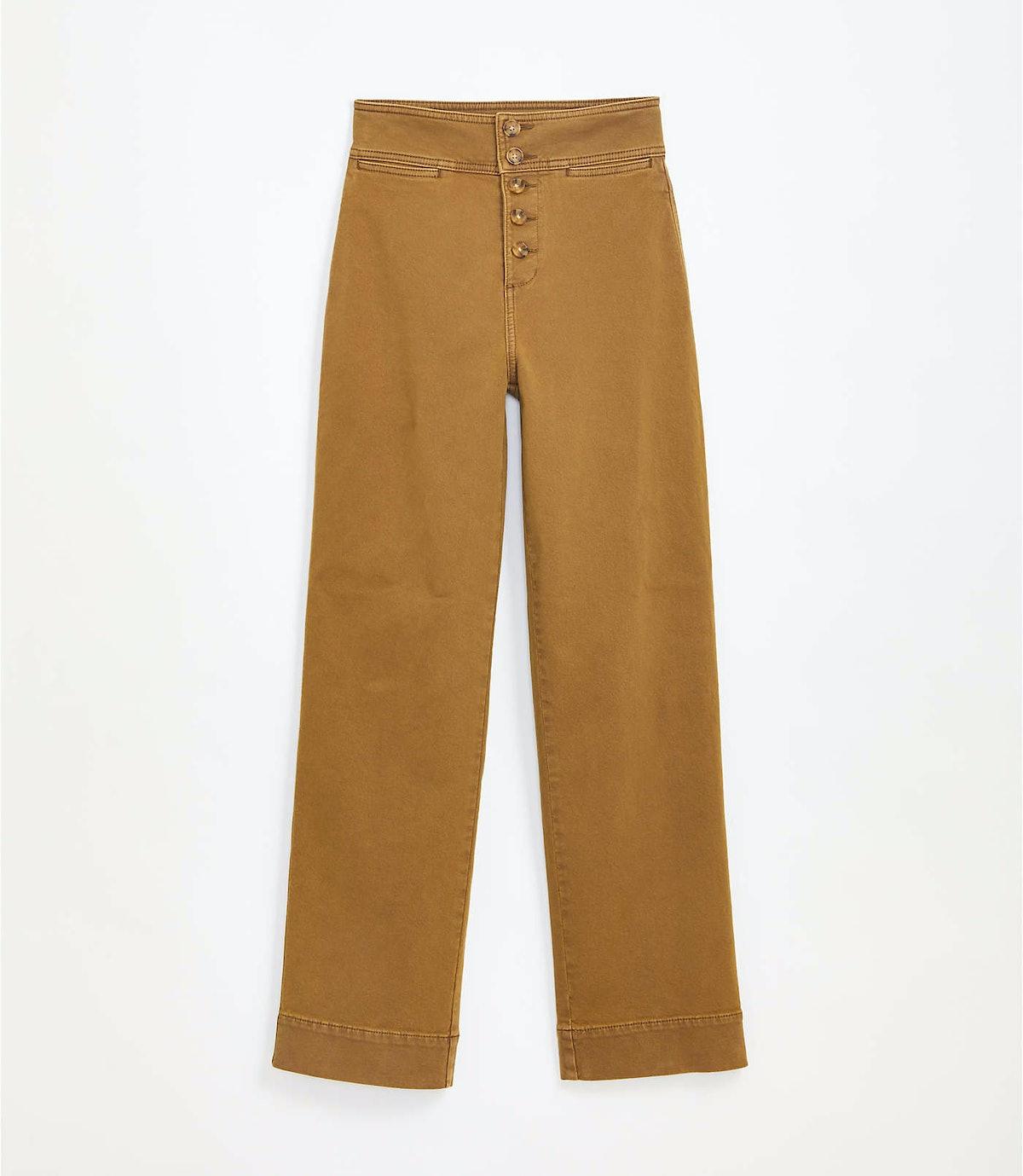 Button Front High Rise Wide Leg Pants