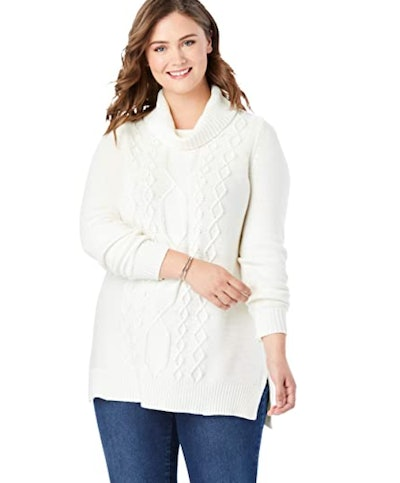 Woman Within Cable Knit Turtleneck Sweater
