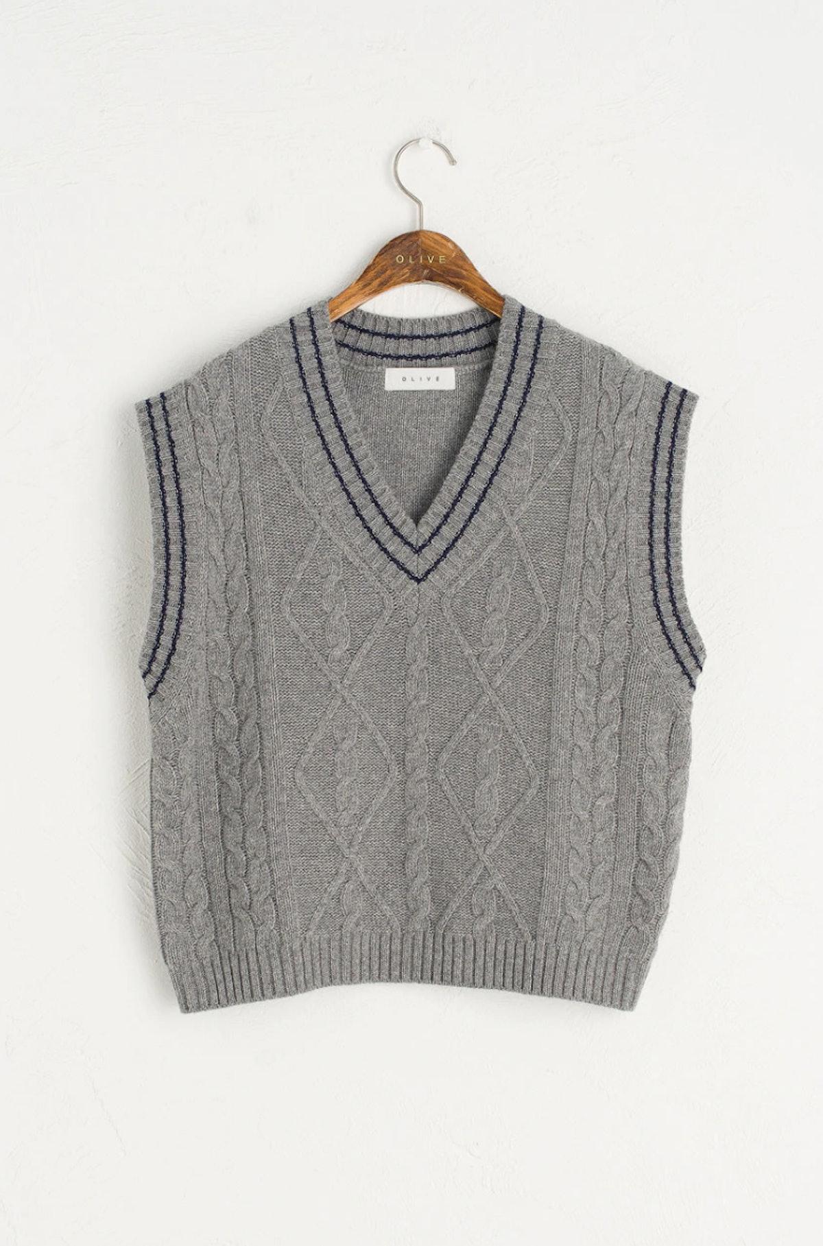 Contrast Stitch Wool vest