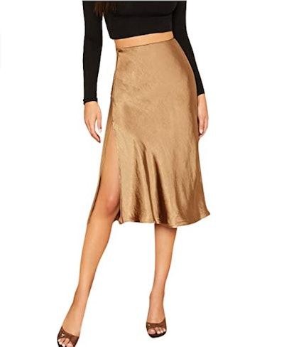 SheIn Satin Split Side Skirt