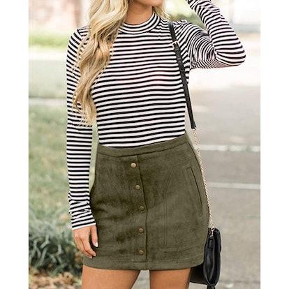 Meyeeka Faux Suede Mini Skirt