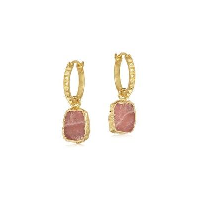 Rhodochrosite Gold Mini Pyramid Charm Hoop Earrings