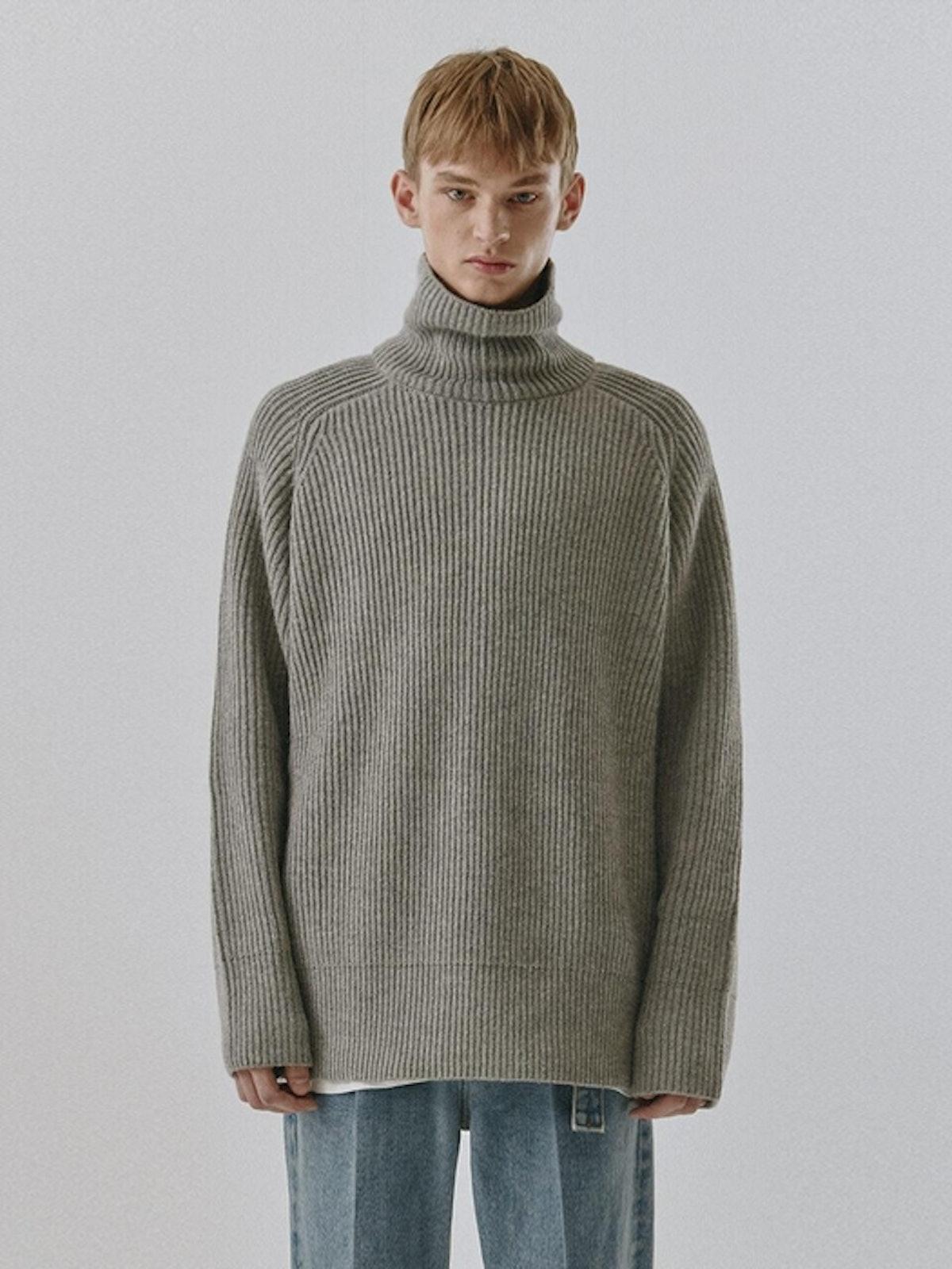 Dunst Unisex Ribbed Funnel Neck Sweater