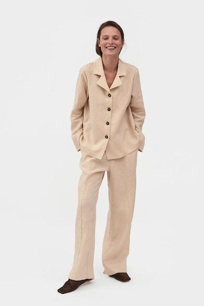 Navy Linen Pajama Set