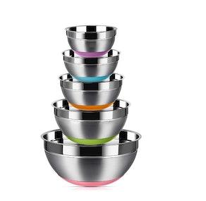 REGILLER Stainless Steel Mixing Bowls (5-Pack)