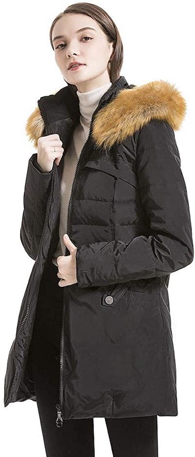 Valuker Women's Warm Down Jacket with Fur Hood