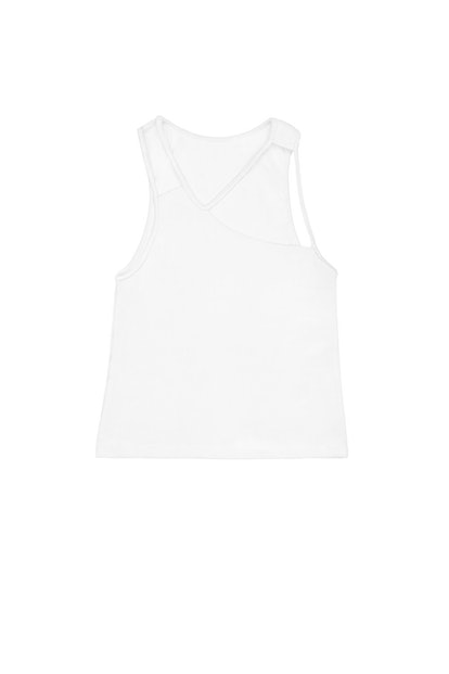 "K.ngsley White ""FIST"" Ribbed Tank"