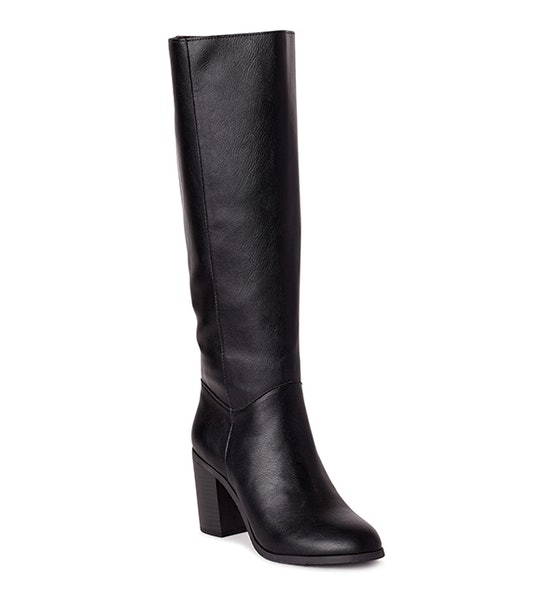 Vegan Leather Knee High Block Heel Boots