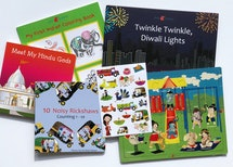 This Diwali-themed bundle includes educational board books, a 40 page coloring book, a 20-piece wooden puzzle, and a sticker sheet with 18 stickers.