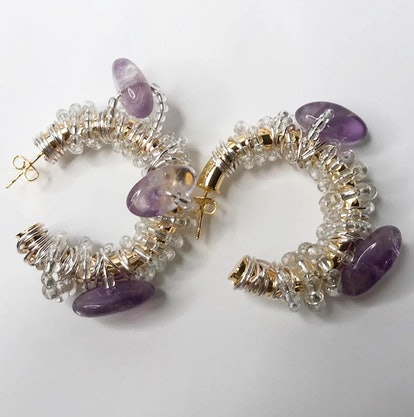 Amethyst Glass Hoops