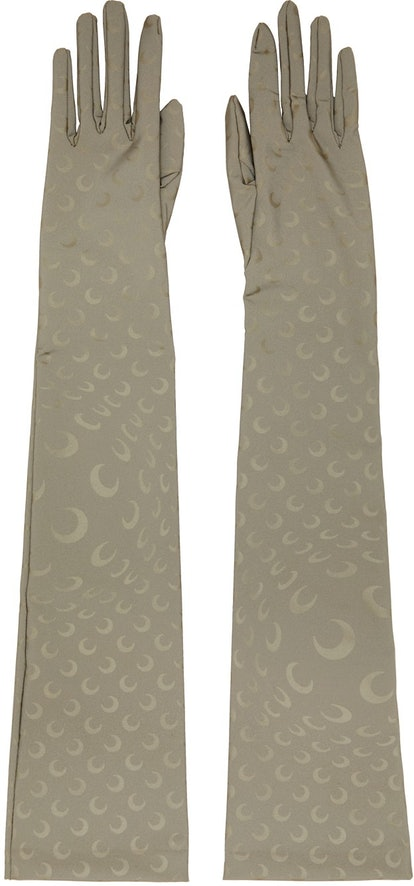 Taupe Reflective Moon Long Gloves