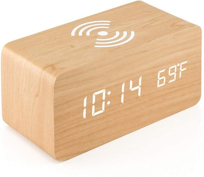 Oct17 Wooden Alarm Clock with Wireless Charging Pad